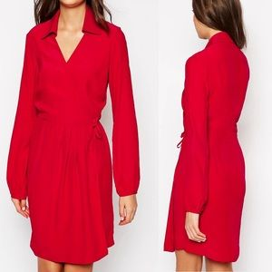 ASOS Red Wrap Dress With Collar Long Sleeve
